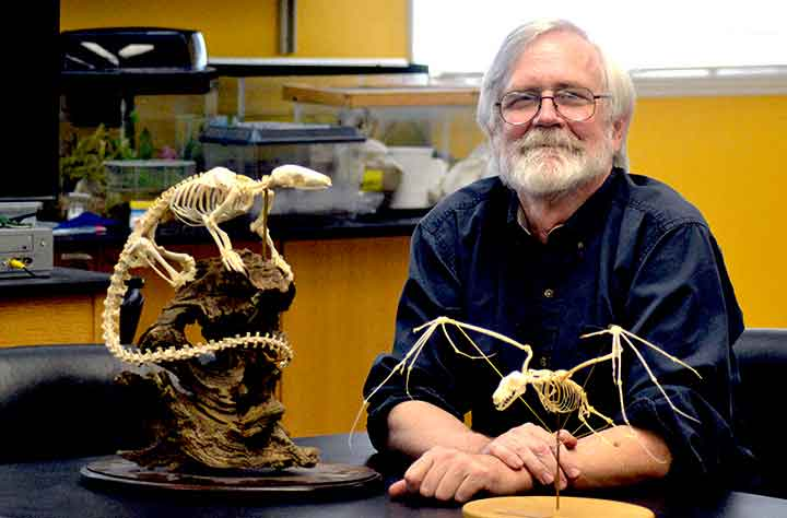 Barry Rhoades in Biology classroom