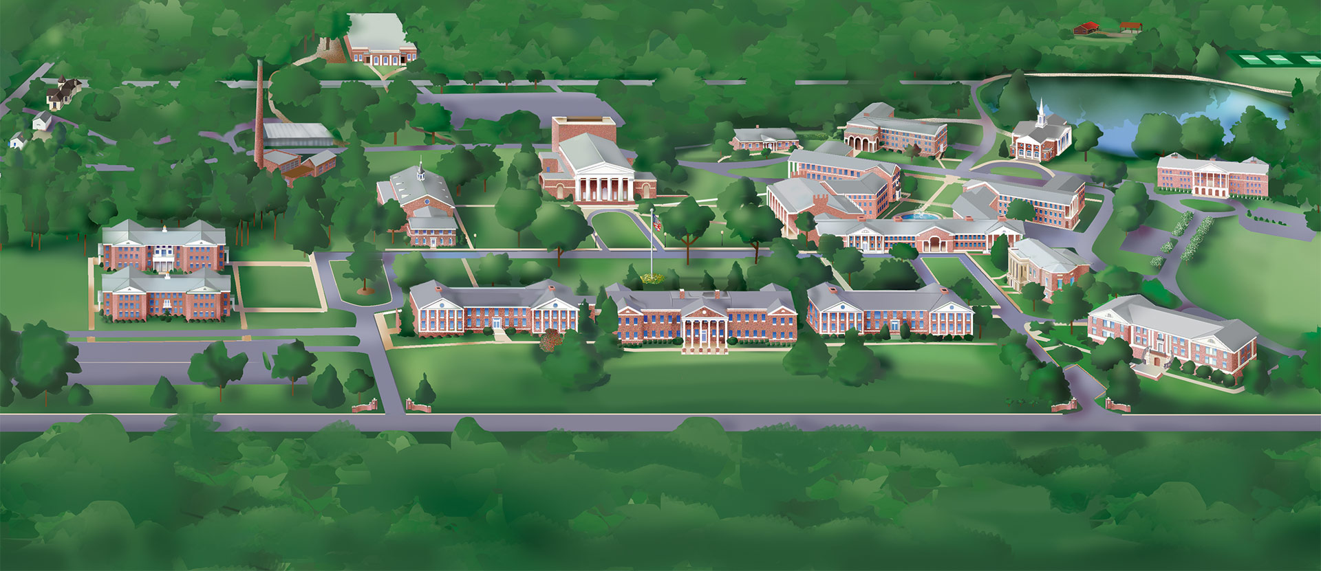 Ariel map of Wesleyan campus